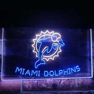 Miami Dolphins Football Bar Decoration Gift Dual Color Led Neon Sign st6-b2047