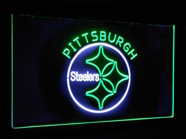 Pittsburgh Steelers Football Bar Decor Dual Color Led Neon Sign st6-b2055