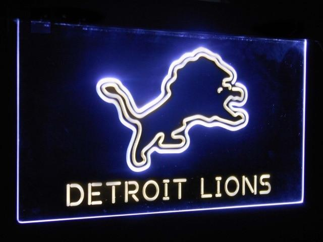 Detroit Lions Football Bar Decoration Gift Dual Color Led Neon Sign st6-b2041