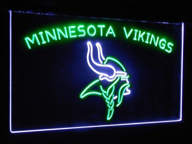 Minnesota Vikings Football Bar Decor Dual Color Led Neon Sign st6-b2048
