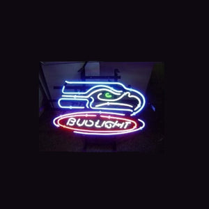 Business NEON SIGN board For  LED Seattle Seahawks Football Bud  REAL GLASS Tube BEER BAR PUB Club Shop Light Signs 17*14""