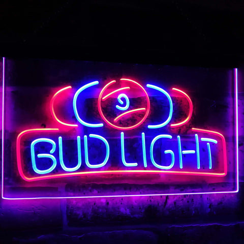 Bud Light Pool Room 9 Ball Snooker Billiard Dual Color Led Neon Sign st6-a2056