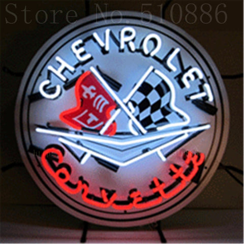"Corvette with Silkscreened Backing  Real Glass Tube neon sign Handcrafted Automotive signs Shop Signage Signage 18""x18"""