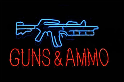 "17*14"" For GUNS AND AMMO NEON SIGN Signboard REAL GLASS BEER BAR PUB  Billiards display  Restaurant  Shop christmas Light Signs"