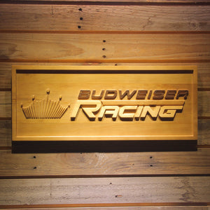 Budweiser Racing Car 3D Wooden Bar Sign