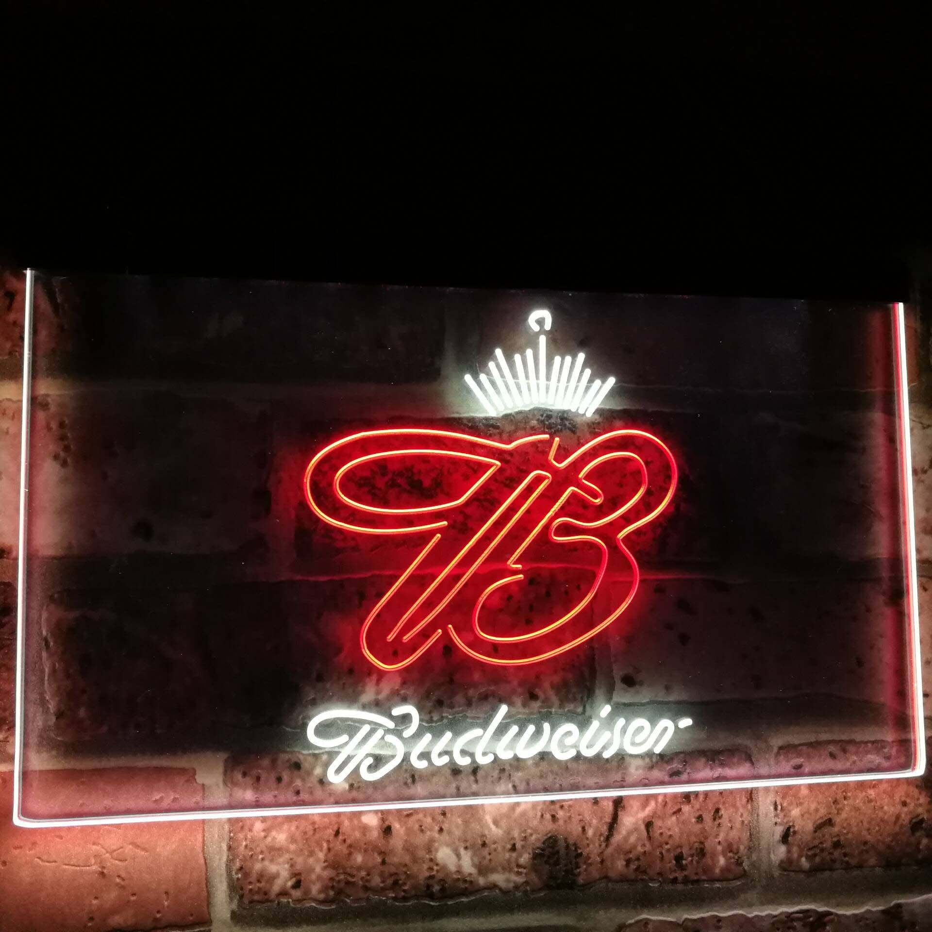 Budweiser Crown King Beer Bar Decoration Gift Dual Color Led Neon Sign st6-a2006