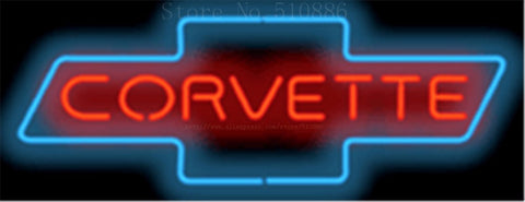 "Corvette Bowtie Auto  Real Glass Tube neon sign Pub  Handcrafted Automotive signs Shop Store Business Signboard signage 17""x14"""