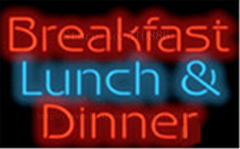 "Breakfast Lunch & Dinner neon sign Handcrafted Light Bar Beer Pub Club signs Shop Store Business Signboard barbegue food19""x15"""