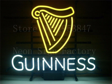 "NEON SIGN GUINNESS Glass Tube neon sign Handcrafted Light Bar Beer Pub Club signs Shop Store Business Signboard signage 17""x14"""
