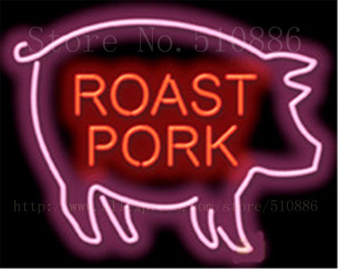 "Pig Open Roast Pork BBQ Glass Tube neon sign Handcrafted Light Bar Beer Club signs Shop Store Business Signboard signage 17""x14"""