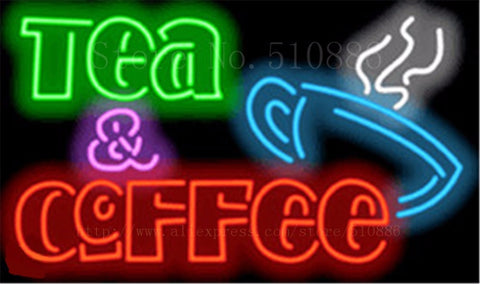 "Tea & Coffee  Cafe Neon sign Glass Tubes Light Bar Beer Club Custom Neon signs Bulb Store Decoration Signboard signage 19""x15"""