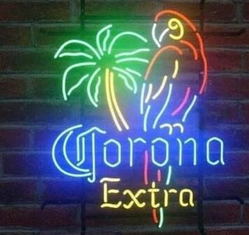 Custom Corona Parrot Glass Neon Light Sign Beer Bar