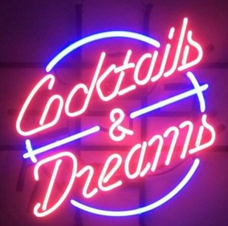 COCKTAILS AND DREAMS PING Glass Neon Light Sign
