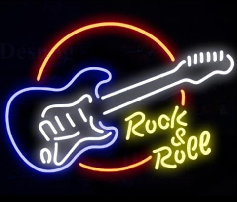 Custom Rock Roll Guitar Glass Neon Light Sign Beer Bar