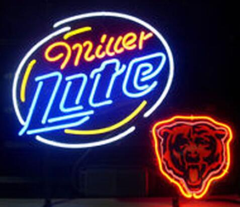 Miller Lite Chicago Bears Glass Neon Light Sign