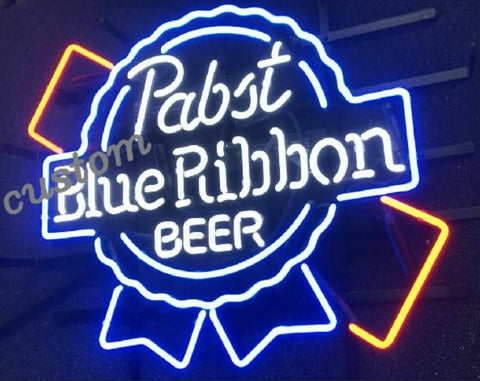 Pabst Blue Ribbon Beer Bar Glass Neon Light Sign