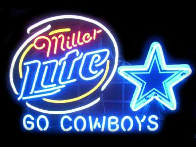 Miller Lite DALLAS COWBOYS Glass Neon Light Sign Beer Bar