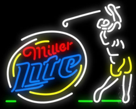 Custom Miller Lite Golfer Glass Neon Light Sign Beer Bar