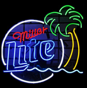 Custom Miller Lite Palm Tree Glass Neon Light Sign Beer Bar