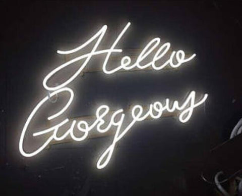 Custom Hello Gorgeous Blue White Red Pink Deep blue Purple Turquoise Green Yellow Glass Neon Light Beer Bar