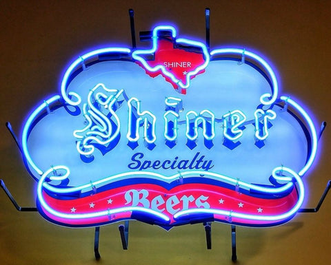 Custom Shiner Beers Texas Speciality Glass Neon Light Sign Beer Bar