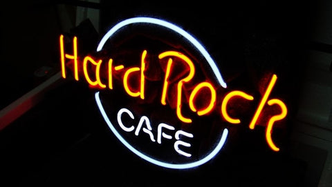 Custom Made Hard Rock Cafe Glass Neon Light Sign boro Beer Bar