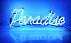 Paradise Blue Glass Neon Light Sign