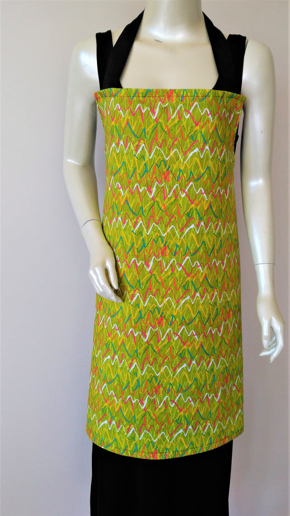 Adult Apron green with squiggles
