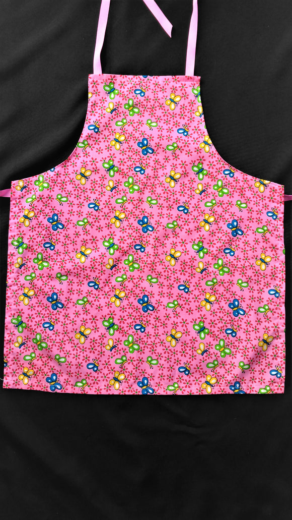 Teen Apron Bright Pink with butterflies