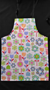 Teen Apron white background bright flowers