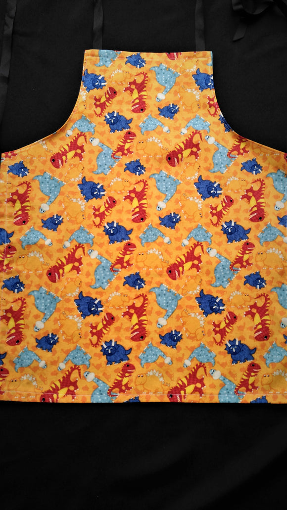 Teen Apron Dinosaurs with yellow background