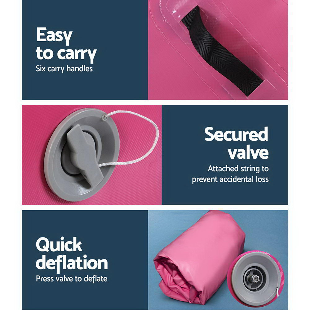 Everfit 120x60cm Inflatable Air Roll Roller Track Mat Airtrack Gymnastics Pink