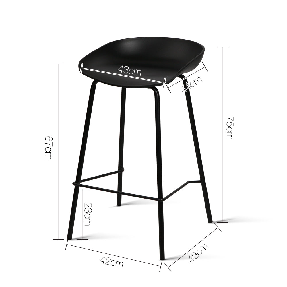 Artiss Set of 2 Metal Bar Stools - Black