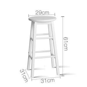 Artiss Set of 2 Beech Wood Backless Bar Stools - White