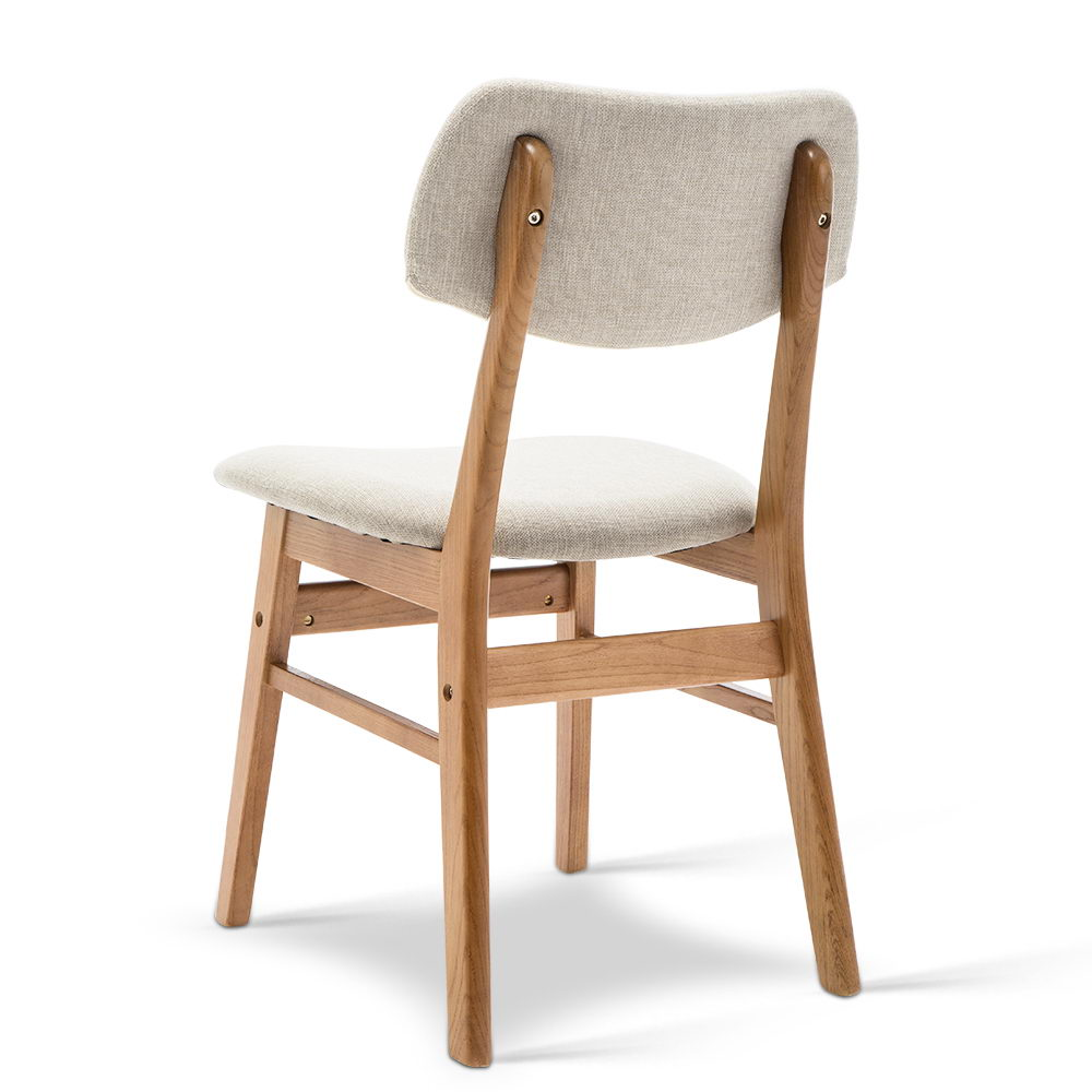 Artiss Set of 2 Wood & Fabric Dining Chairs - Beige