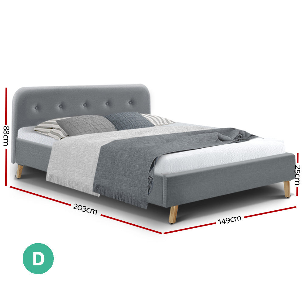 Artiss Double Full Size Bed Frame Base Mattress Fabric Wooden Grey POLA