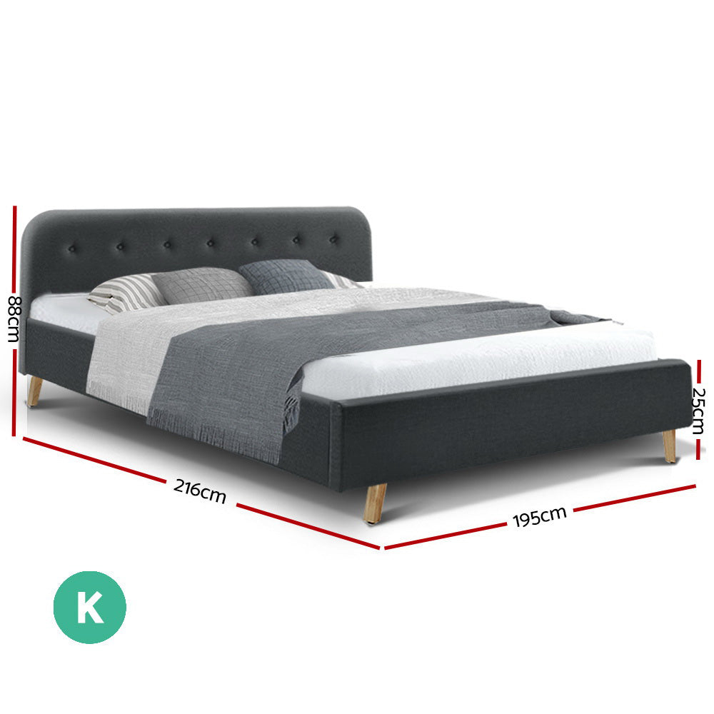 Artiss King Size Bed Frame Base Mattress Fabric Wooden Charcoal POLA