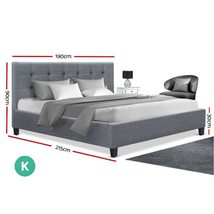 Artiss King Size Bed Frame Base Mattress Platform Grey Fabric Wooden SOHO