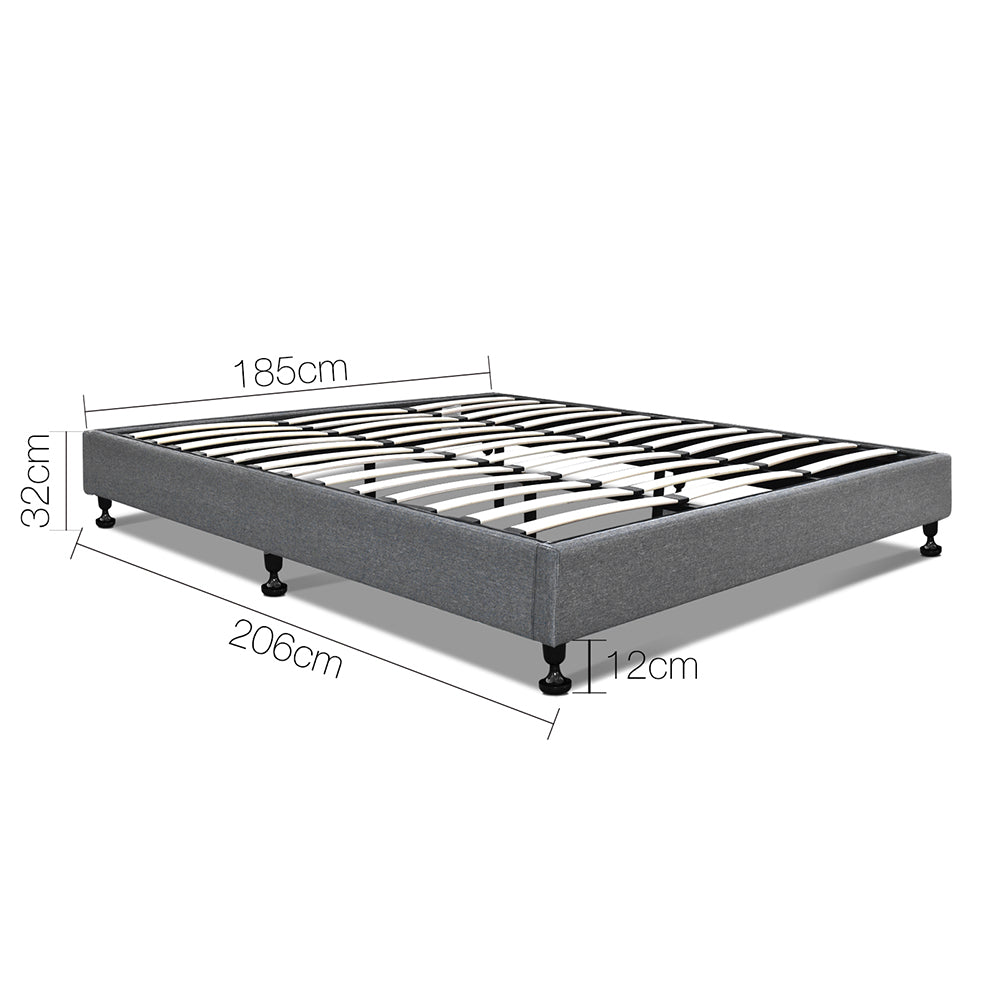 Artiss King Size Fabric and Wood Bed Frame - Grey