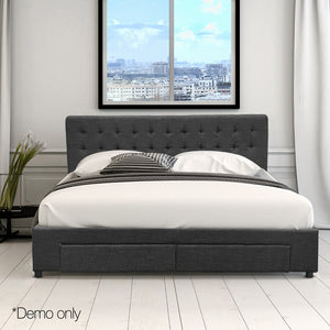 Artiss Queen Size Fabric Bed Frame Headboard with Drawers  - Charcoal
