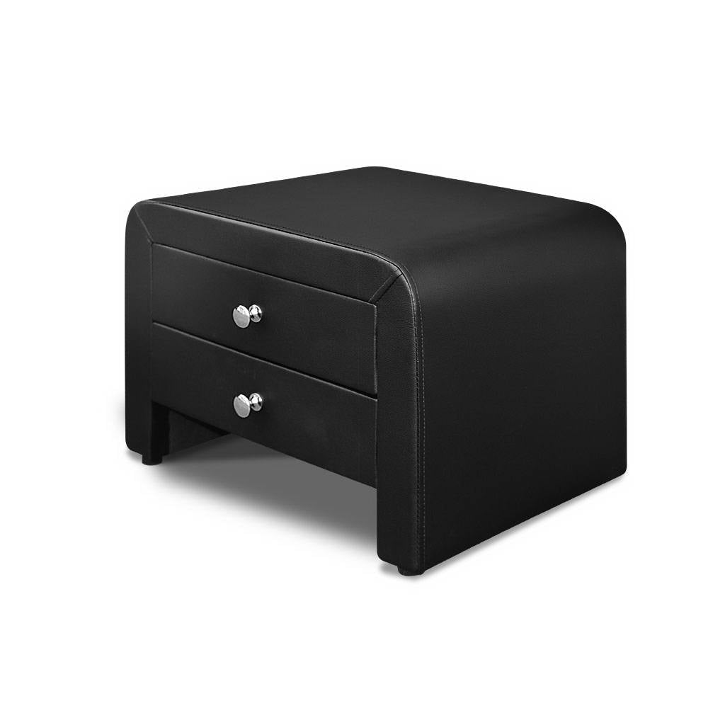 Artiss PU Leather Bedside Table with 2 Drawers - Black