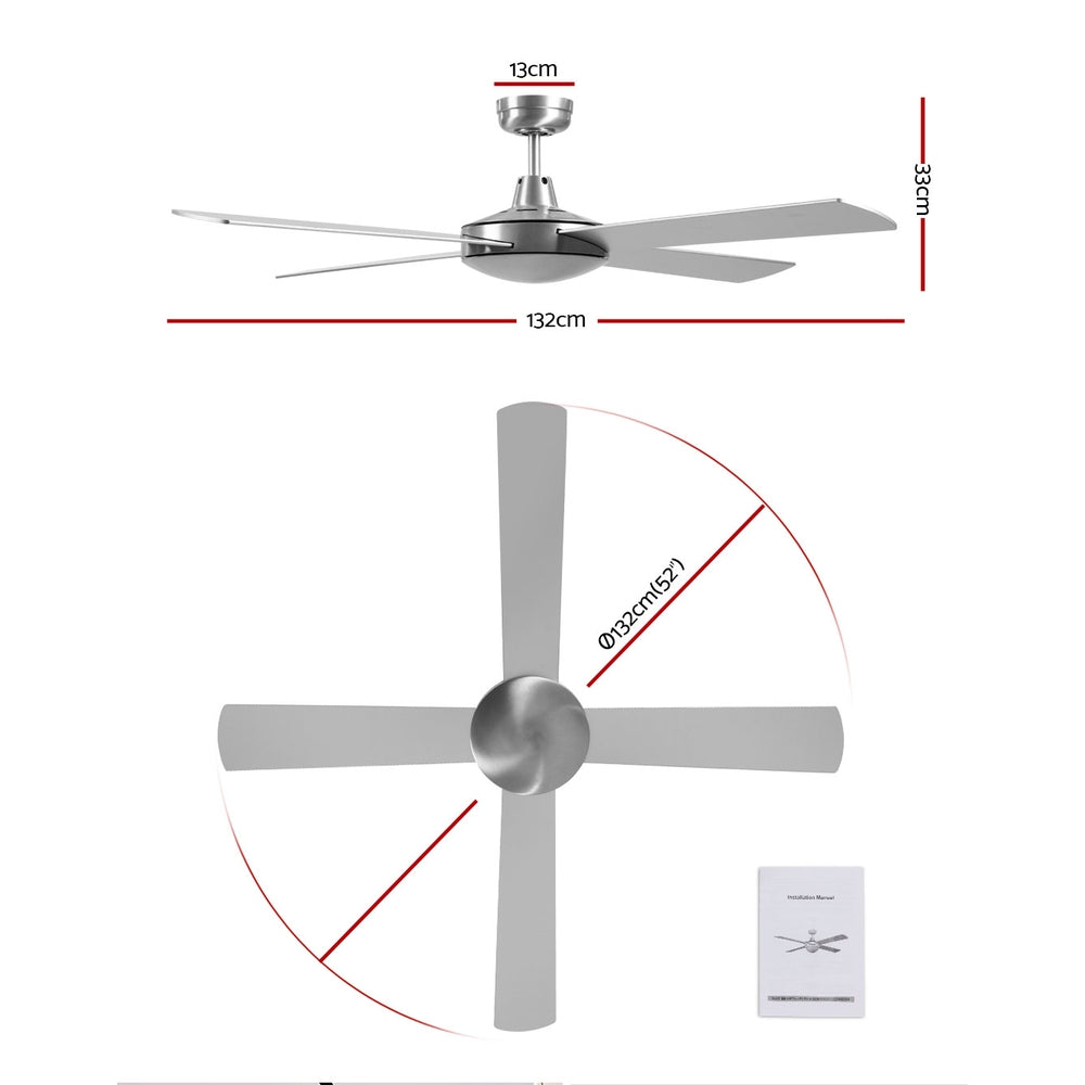 Devanti 52 inch 1300mm Ceiling Fan Brushed Aluminum Finish 4 Blades Wall Controller