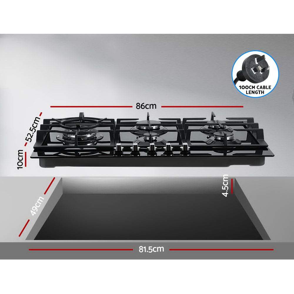 Devanti Gas Cooktop 90cm 5 Burner Stove Hob Cooker Kitchen NG LPG Black Glass