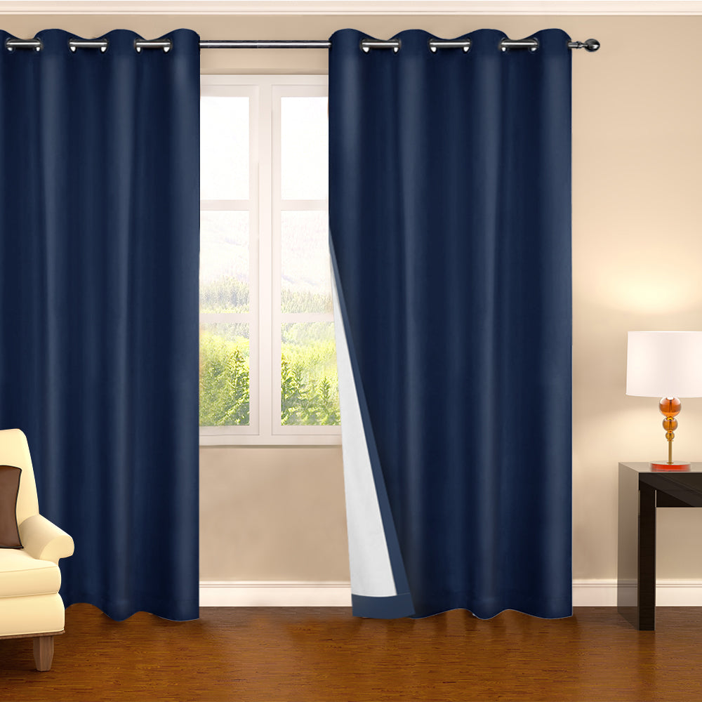Art Queen 2 Panel 140 x 230cm Eyelet Blockout Curtains - Navy