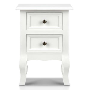 Bedside Table French Provincial Lamp Cabinet 2 Drawers White