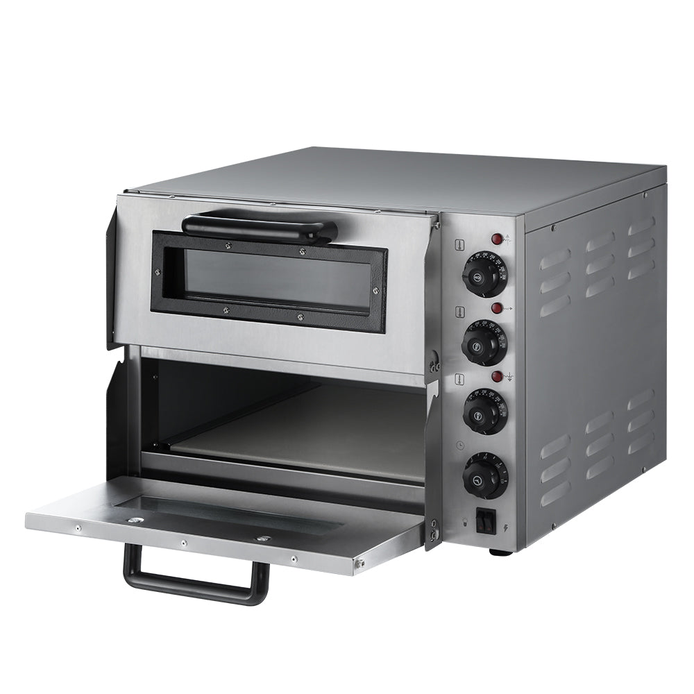 Devanti Electric 3KW Pizza Oven Maker Commercial Twin Deck Stone Stainless Steel