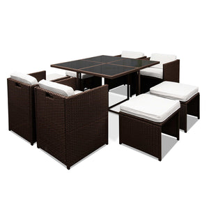 Gardeon 9 Piece Wicker Outdoor Dining Set - Brown & White