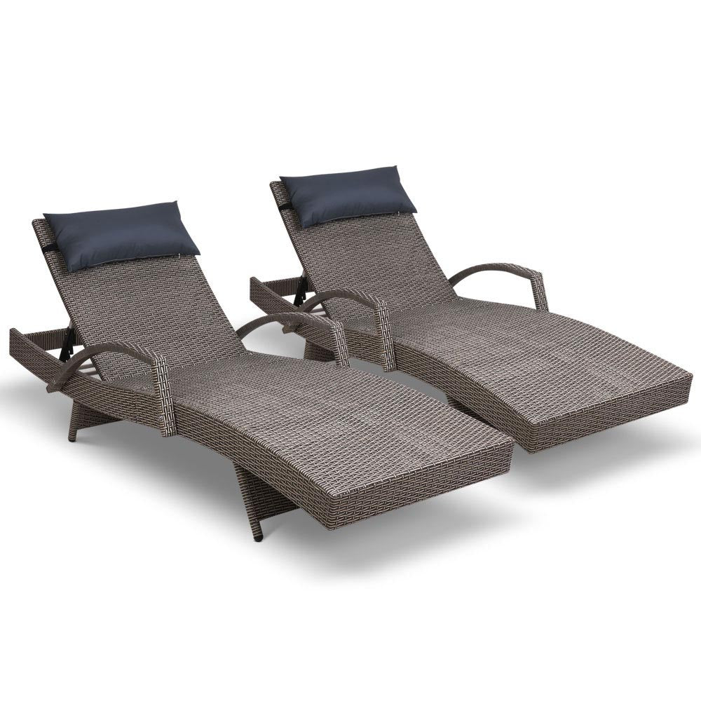 Gardeon Sun Lounge Setting Grey Wicker Day Bed Outdoor Furniture Garden Patio