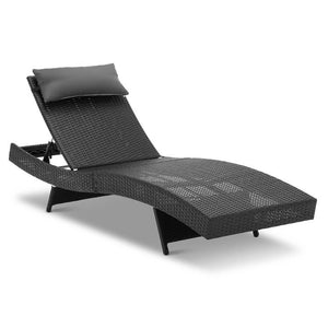 Gardeon Set of 2 Outdoor Wicker Sun Lounges - Black