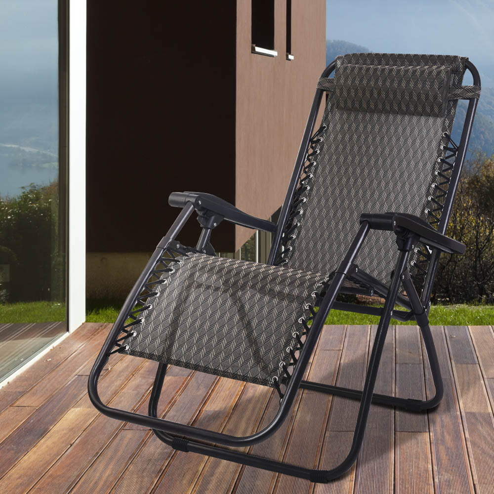 Gardeon Outdoor Portable Recliner - Grey